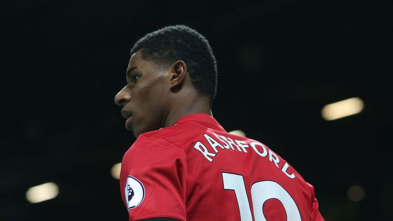 OLD TRAFFORD: Marcus Rashford during the Premier League match between Manchester United  and Newcastle United on November 18, 2017.