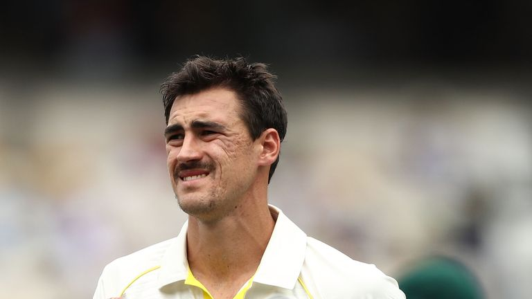 Mitchell Starc of Australia prepares to bowl during day one of the First Test Match of the 2017/18 Ashes Series