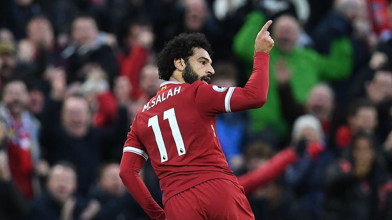 Mohamed Salah celebrates his first goal against Southampton