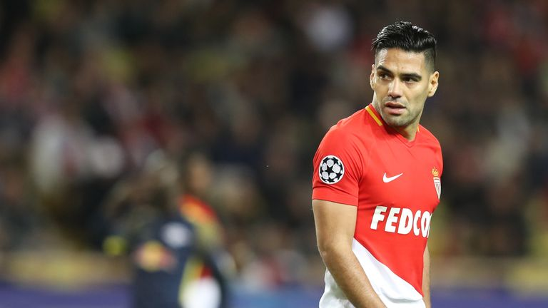 Monaco's Colombian forward Radamel Falcao reacts during the UEFA Champions League group G football match between Monaco and Leipzig at the Louis II stadium