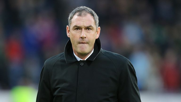 BURNLEY, ENGLAND - NOVEMBER 18: Paul Clement, Manager of Swansea City looks on prior to the Premier League match between Burnley and Swansea City at Turf M