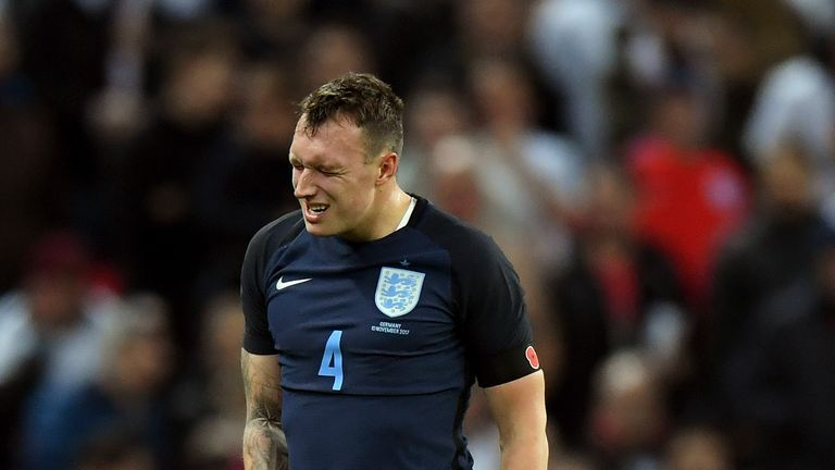 Phil Jones went off injured during England's friendly against Germany