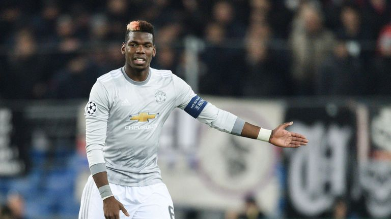 Manchester United's French midfielder Paul Pogba gestures during the UEFA Champions League Group A football match between FC Basel and Manchester United on