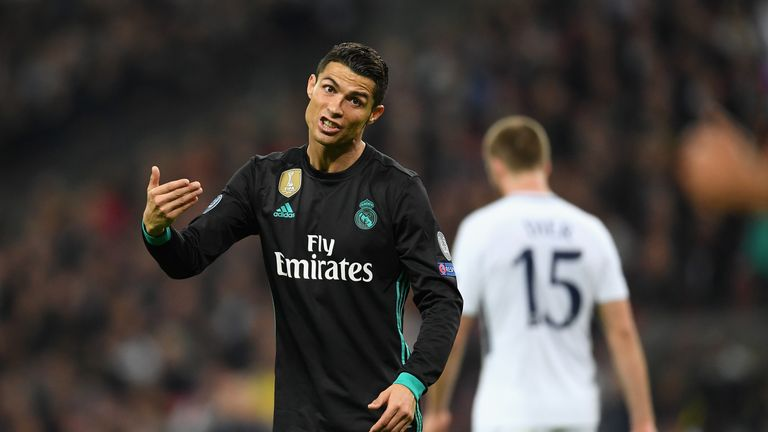 LONDON, ENGLAND - NOVEMBER 01:  Cristiano Ronaldo of Real Madrid reacts during the UEFA Champions League group H match between Tottenham Hotspur and Real M