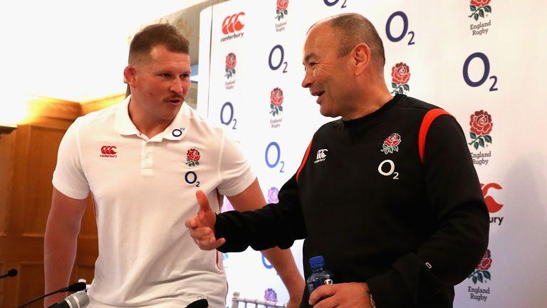England head coach Eddie Jones, (right) and captain Dylan Hartley