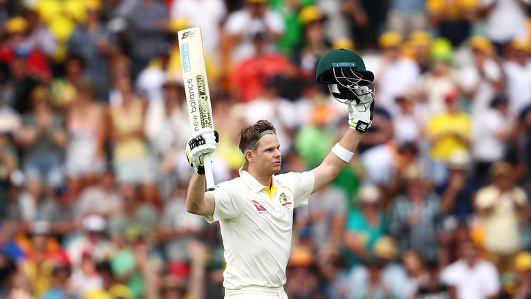 Steve Smith of Australia celebrates his century during day three of the First Test Match of the 2017/18 Ashes Series