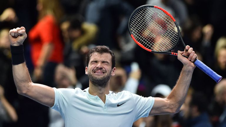 Bulgaria's Grigor Dimitrov celebrates his three set victory over US player Jack Sock in their men's singles semi-final match on day seven of the ATP Finals