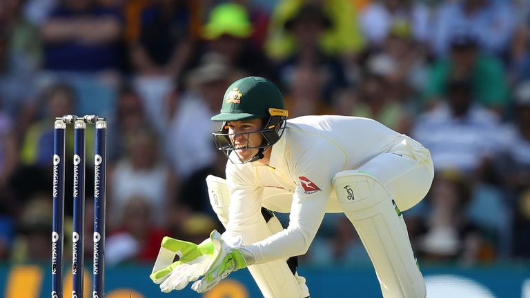 BRISBANE, AUSTRALIA - NOVEMBER 23: Tim Paine of Australia wicket keeps during day one of the First Test Match of the 2017/18 Ashes Series between Australia