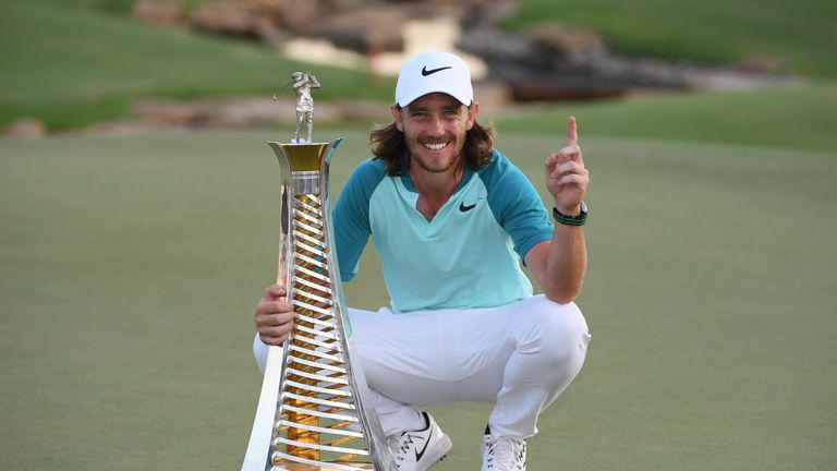 DUBAI, UNITED ARAB EMIRATES - NOVEMBER 19:  Tommy Fleetwood of England poses with the Race to Dubai trophy during the final round of the DP World Tour Cham