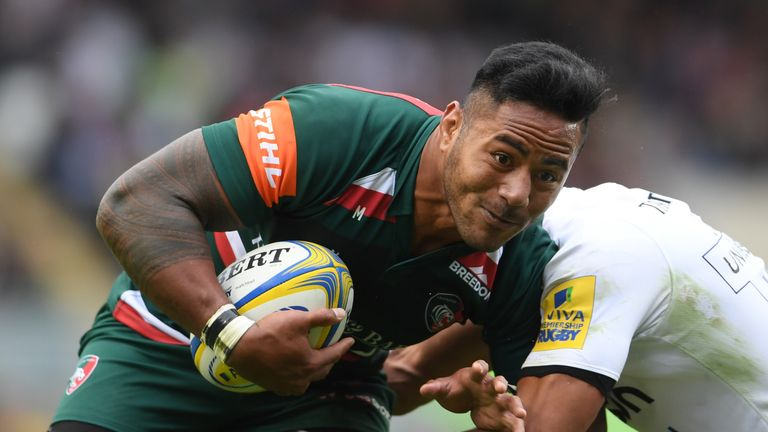 LEICESTER, ENGLAND - SEPTEMBER 03:  Manu Tuilagi of Leicester Tigers in action during the Aviva Premiership match between Leicester Tigers and Bath Rugby a