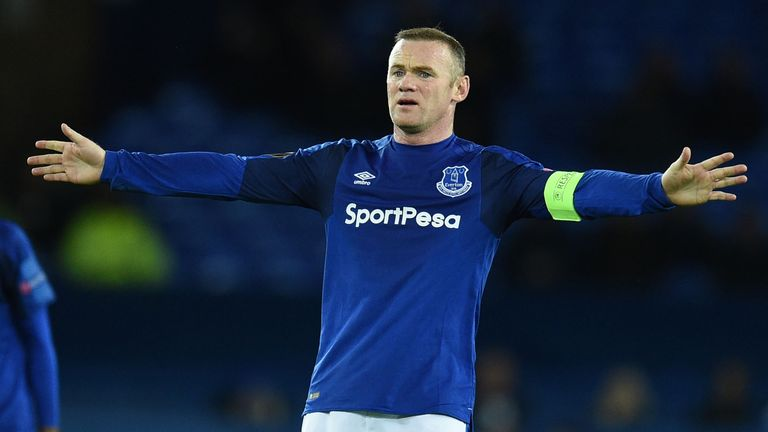Everton's Wayne Rooney shows his frustration in the match against Atalanta