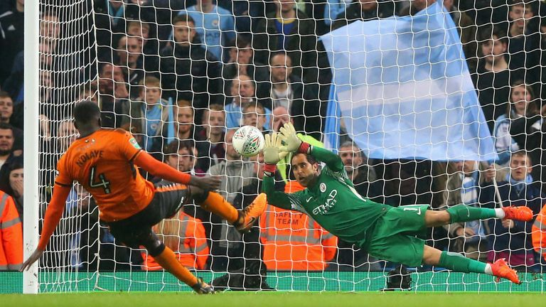 Claudio Bravo's penalty saving heroics sent City through at Wolves' expense