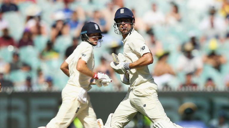 Alastair Cook (R) scored an unbeaten 244, while Root was dismissed for 61