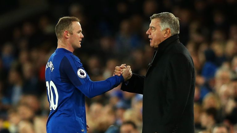 Wayne Rooney shakes hands with Sam Allardyce after being withdrawn