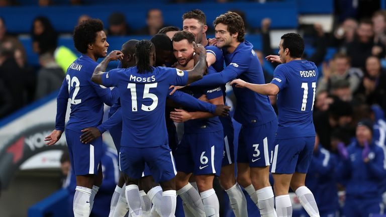 Danny Drinkwater is congratulated after scoring his first Chelsea goal