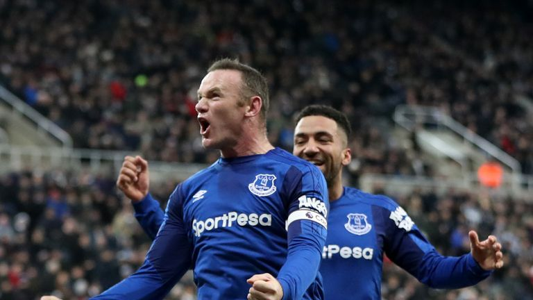 Wayne Rooney Celebrates After Evertons Winner Against Newcastle