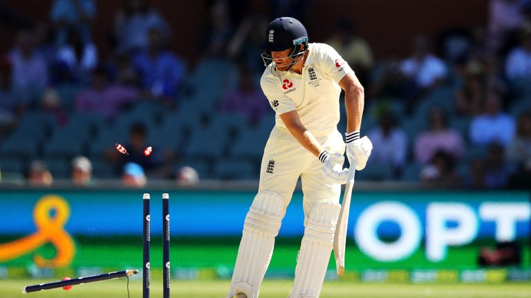 Jonny Bairstow was last man out in the day-night Ashes Test, comprehensively castled by Mitchell Starc
