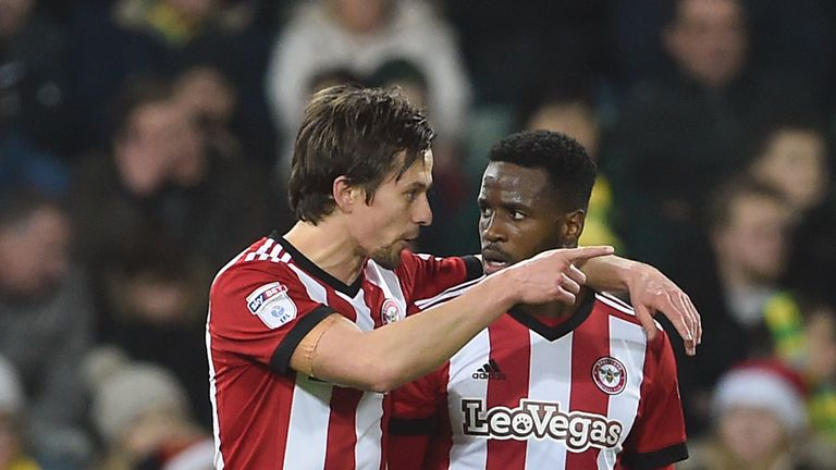 Brentford's Lasse Vibe (left) scored twice at Carrow Road