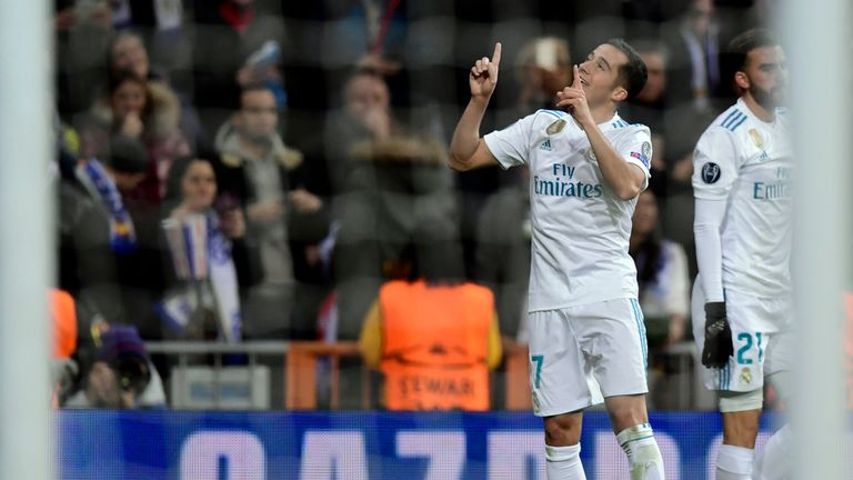 Lucas Vazquez (L) celebrates after scoring Real Madrid's winner