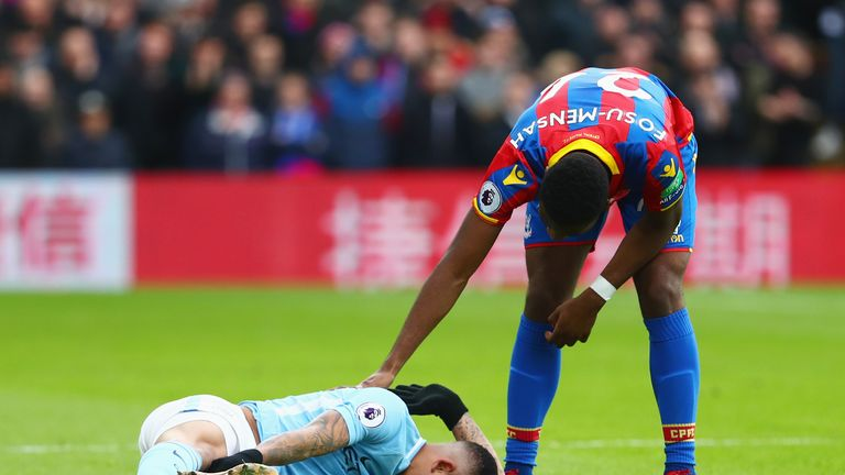 Gabriel Jesus was injured for Man City at Selhurst Park