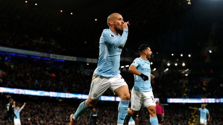 David Silva celebrates after scoring Manchester City's winner against West Ham