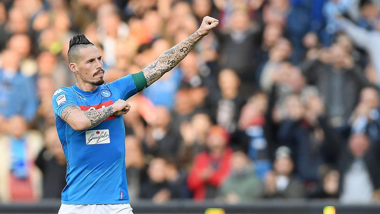 Marek Hamsik celebrates scoring his  116th goal for Napoli