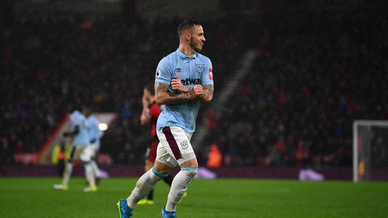 Marko Arnautovic celebrates West Ham's second
