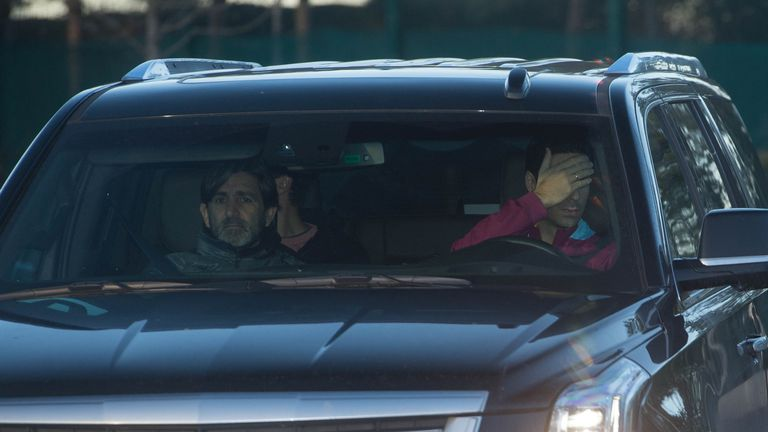 Arteta seemed reluctant for the media to see him as he arrived with fellow coach Lorenzo Buenaventura (Pic credit: Cavendish Press)