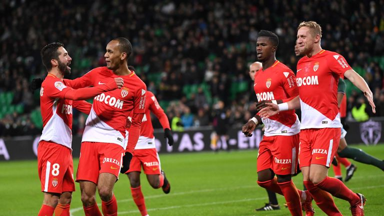 Fabinho (right) scored for Monaco against Marseille