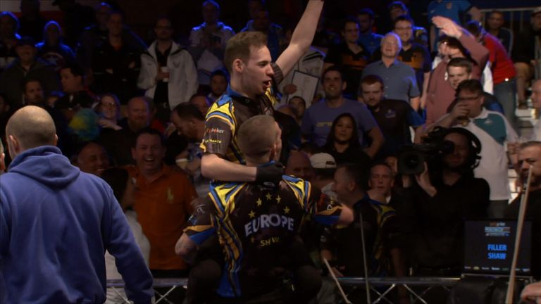 Filler and Jason Shaw celebrate their victory over Shane van Boening and Oscar Dominguez