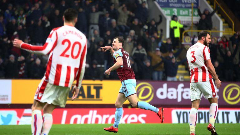 Ashley Barnes celebrates scoring the winning goal