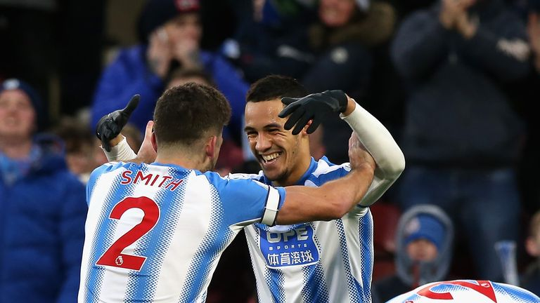 Tom Ince celebrates his goal with team-mate Tommy Smith