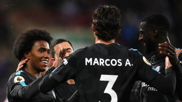 Willian celebrates his goal with Chelsea team-mates