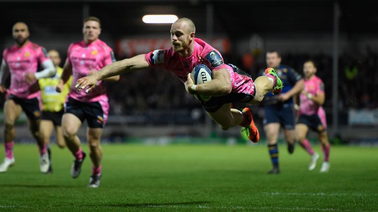 James Short dives over for Exeter's sole try of the day