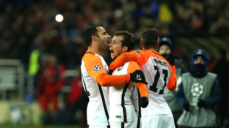 Brazilian midfielder Bernard celebrates his opener