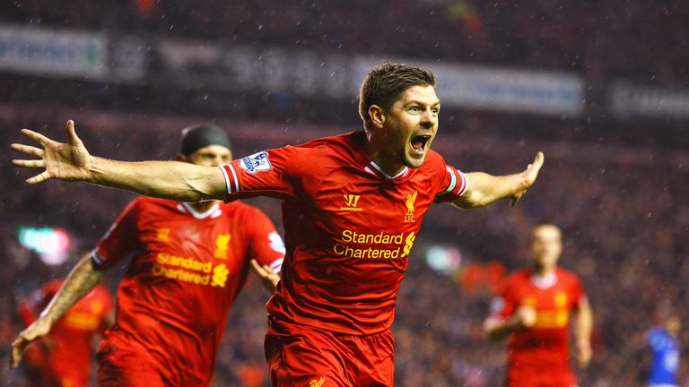 Steven Gerrrard celebrates during Liverpool's 4-0 win over Everton in 2014
