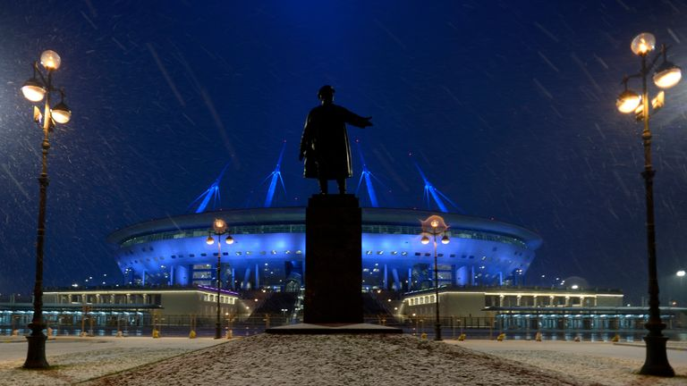 Statue of Soviet politician Sergei Kirov outside St Petersburg's Krestovsky stadium