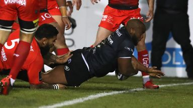 Beno Obano crashes over for Bath's opening try in the first minute