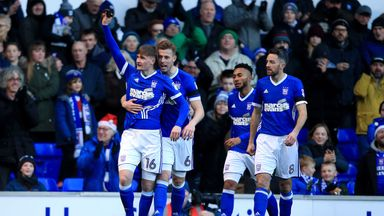 IPSWICH, ENGLAND - DECEMBER 16:  Callum Connolly of Ipswich Town celebrates scoring the opening goal during the Sky Bet Championship match between Ipswich