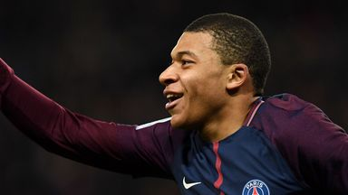 Kylian Mbappe celebrates his strike against Lille