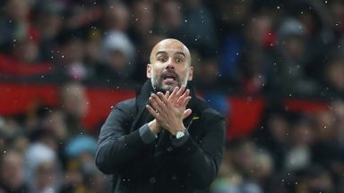 Pep Guardiola says the celebrations stayed in the dressing room at Old Trafford