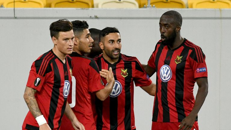 Ostersunds forward Saman Ghoddos celebrates with team-mates after scoring during the UEFA Europa League football match against Zorya Luhansk