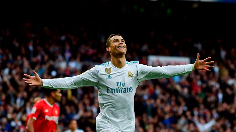 Cristiano Ronaldo celebrates after scoring against Sevilla