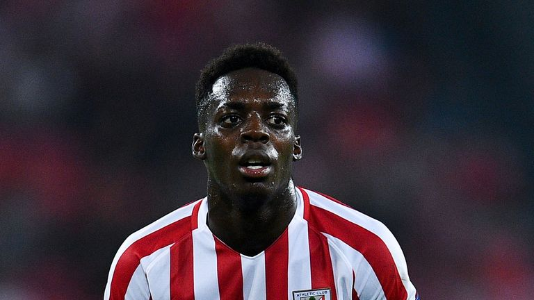 BILBAO, SPAIN - SEPTEMBER 29:  Inaki Williams of Athletic Club reacts after missing a chance to score during the UEFA Europa League Group F match between A