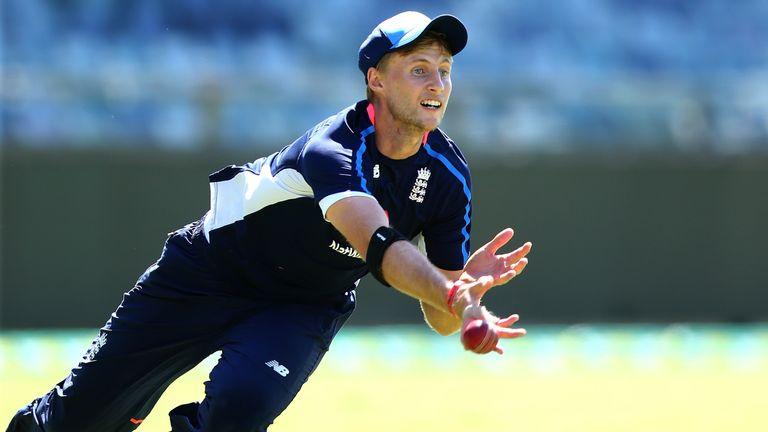 PERTH, AUSTRALIA - DECEMBER 13:  Joe Root of England dives for a catch during an England nets session ahead of the Third Test of the 2017/18 Ashes Series a