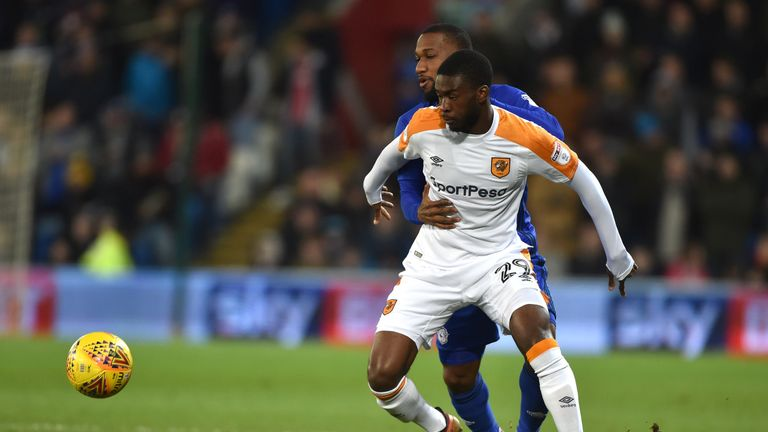 Cardiff City's Junior Hoilett and Hull City's Fiyako Tomori during the Sky Bet Championship match at the Cardiff City Stadium