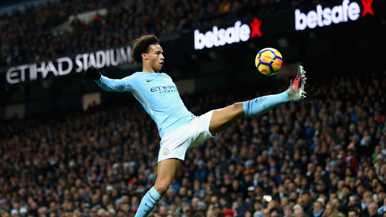 Leroy Sane controls the ball