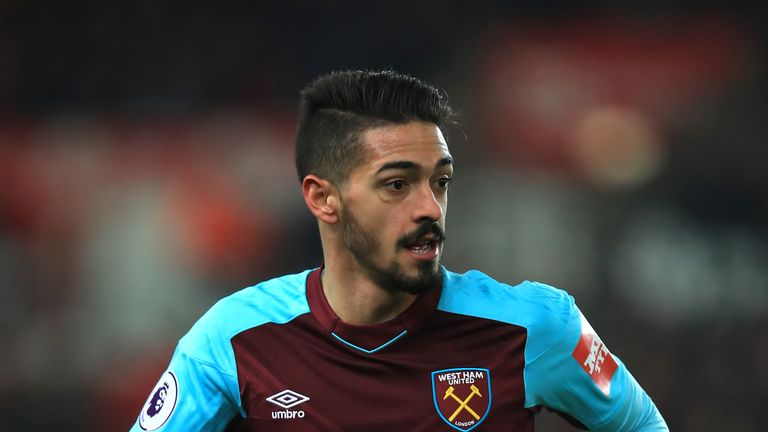 West Ham United's Manuel Lanzini during the Premier League match at the bet365 Stadium, Stoke. PRESS ASSOCIATION Photo. Picture date: Saturday December 16,