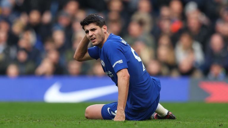 LONDON, ENGLAND - DECEMBER 02: Alvaro Morata of Chelsea during the Premier League match between Chelsea and Newcastle United at Stamford Bridge on December