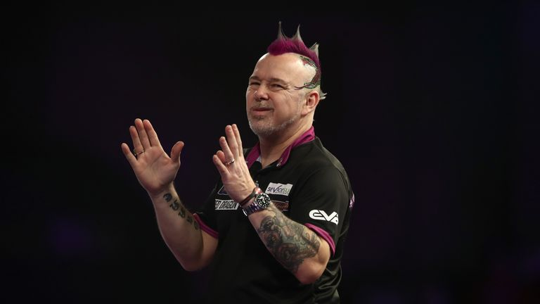 Peter Wright shows his frustration during his match against Jamie Lewis on day eleven of the William Hill World Darts Championship